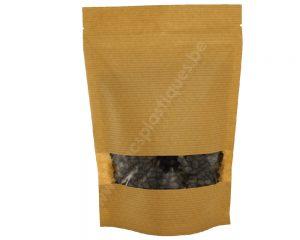 Pochettes en papier rayé marron avec fenêtre rectangle