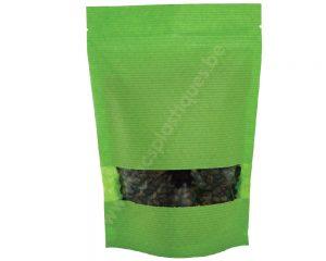 Pochettes en papier rayé vert avec fenêtre rectangle