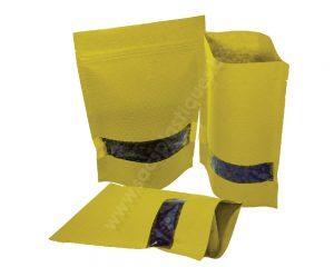 Pochettes en papier rayé jaune avec fenêtre rectangle