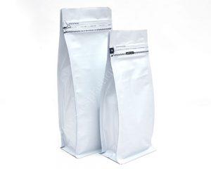 Blanc mat avec ouverture d'ouverture de zip