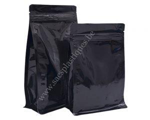 Noir brillant avec fermeture fermeture éclair