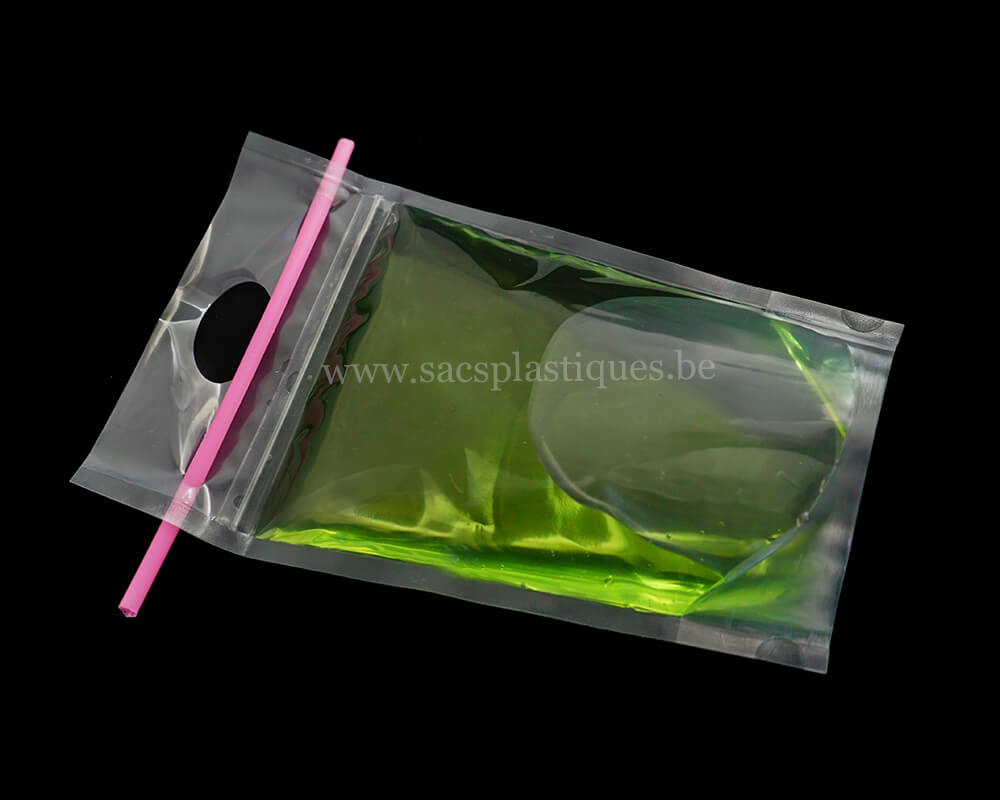 Pochettes en papier rayé vert